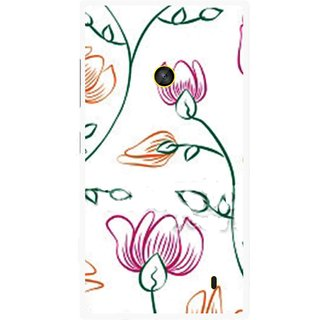 Snooky Printed Flower Sketch Mobile Back Cover For Nokia Lumia 520 - Multi