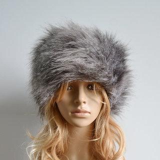 Modo Vivendi Women Faux Rabbit Fur Knitted Cap Women Winter Warm Beanie Hat Ladies Headgear Grey Style 1
