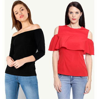 483ccb8e8c3188 Buy Combo of 2 Tops ( Black Off Shoulder Plain Top + Red Cold Shoulder  Ruffle Top ) Online   ₹799 from ShopClues