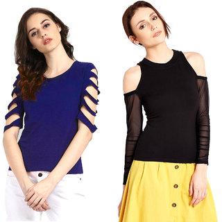 buy aashish fabrics combo of 2 tops royal blue cutout top rh shopclues com topshop online shop topshop deutschland