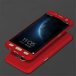 MOBIMON 360 Degree Full Body Protection Front Back Case Cover (iPaky Style) with Tempered Glass for Samsung J7 Max-Red