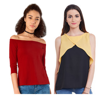 Aashish Garments - Combo of 2 Tops ( Red Off Shoulder Top + Black Color Block Top )
