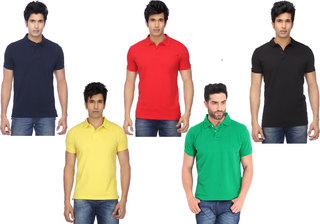 Funky Guys black, red, yellow, green and navy  Polo T shirt PACK OF 5