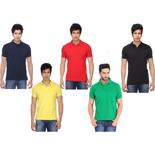 K-TEX black red yellow green and navy  Polo T shirt PACK OF 5