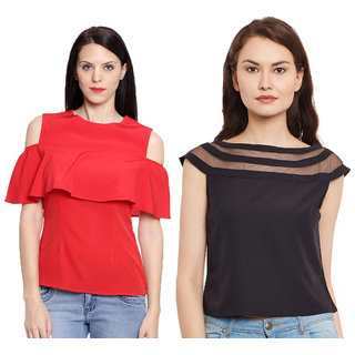 0a29a277e32bd5 Aashish Garments - Combo of 2 Tops ( Red Cold Shoulder Ruffle Top + Black  Round