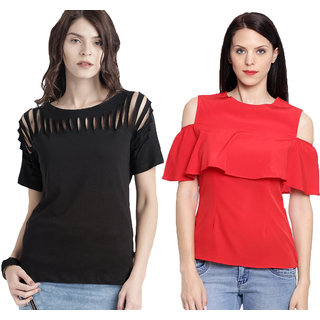 e33e7d90d5592 Aashish Garments - Combo of 2 Tops ( Black Neck Cutout Top + Red Cold  Shoulder