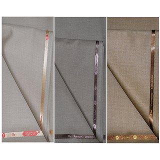 Kundan Sulz Gwalior Men's Executive Beige, Light Cadbury  Light Golden Color Fancy Formal Trouser Fabric ( 3 Pant Pieces for Men )