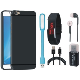Nokia 3 Silicon Anti Slip Back Cover with Memory Card Reader, Digital Watch, Earphones, USB LED Light and USB Cable