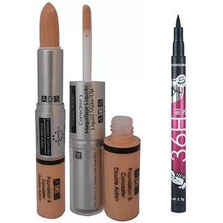 ADS Foundation And Concealer With Sketch Pen Eyeliner