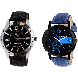 Kajaru KJR-10,6 Round Black And Blue Dial Analog Watch Combo for Men