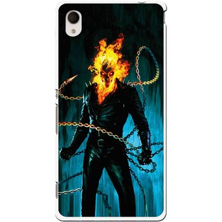 Snooky Printed Ghost Rider Mobile Back Cover For Sony Xperia M4 - Multi