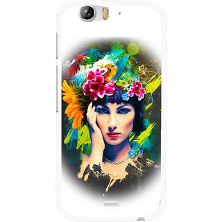 Snooky Printed Classy Girl Mobile Back Cover For Micromax Canvas Turbo A250 - White