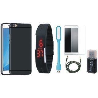 Nokia 6 Premium Quality Cover with Memory Card Reader, Free Digital LED Watch, Tempered Glass, LED Light and AUX Cable