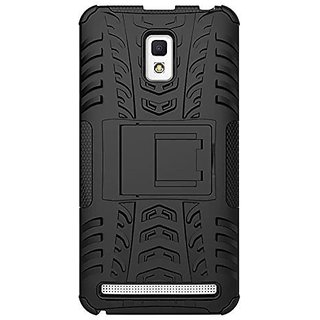 Dream2Cool Hybrid Military Grade Armor Kick Stand Back Cover Case for Lenovo A6600 Plus/A6600+   (Black)