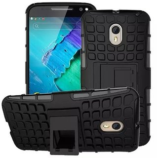 Dream2Cool Hybrid Military Grade Armor Kick Stand Back Cover Case for Motorola Moto X3 (Black)