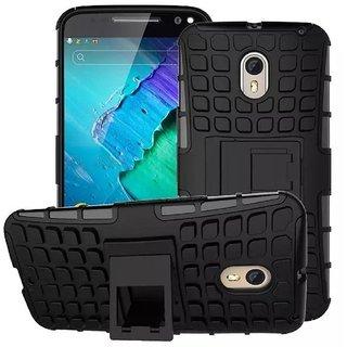 Dream2Cool Hybrid Military Grade Armor Kick Stand Back Cover Case for Motorola Moto X3 (Black)
