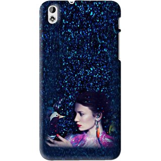 Snooky Printed Blue Lady Mobile Back Cover For HTC Desire 816 - Multi