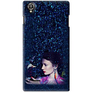 Snooky Printed Blue Lady Mobile Back Cover For Lava Iris 800 - Multi