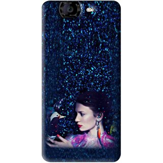 Snooky Printed Blue Lady Mobile Back Cover For Micromax Canvas A350 - Multi