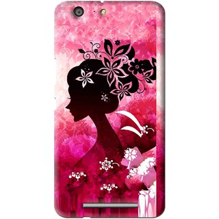 Snooky Printed Pink Lady Mobile Back Cover For Gionee Marathon M5 - Multi