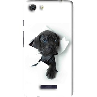 Snooky Printed Cute Dog Mobile Back Cover For Micromax Canvas Unite 3 - White