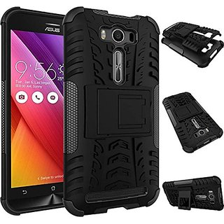 Dream2Cool Hybrid Military Grade Armor Kick Stand Back Cover Case for Asus Zenfone 2 Laser ZE500KL 5.0 Inches (Black)