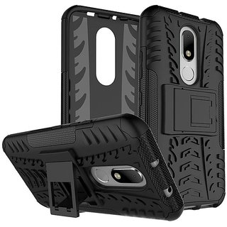Dream2Cool Hybrid Military Grade Armor Kick Stand Back Cover Case for Motorola Moto M (Black)