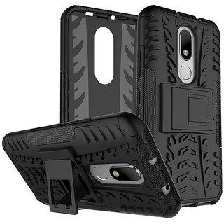 Dream2Cool Hybrid Military Grade Armor Kick Stand Back Cover Case for Motorola Moto M (Black)