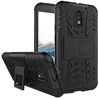 Dream2Cool Hybrid Military Grade Armor Kick Stand Back Cover Case for Motorola Moto E3 - New 2016 Edition (Black)