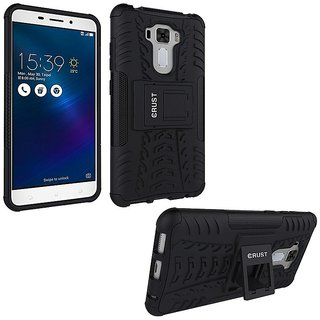 Dream2Cool Hybrid Military Grade Armor Kick Stand Back Cover Case for Asus Zenfone 3 ZE552KL 5.5 inch (Black)