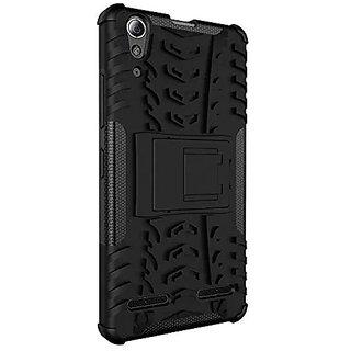 Dream2Cool Hybrid Military Grade Armor Kick Stand Back Cover Case for Lenovo A6000 / A6000+ Plus  (Black)