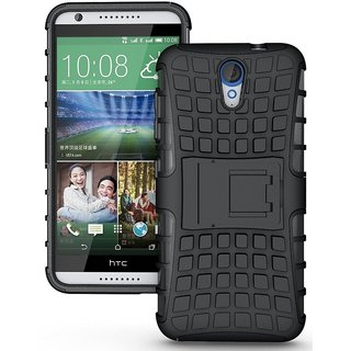 Dream2Cool Hybrid Military Grade Armor Kick Stand Back Cover Case for HTC Desire 620 620G  (Black)