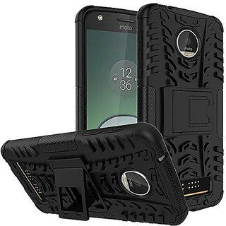 Dream2Cool Hybrid Military Grade Armor Kick Stand Back Cover Case for Motorola Moto Z Play  (Black)