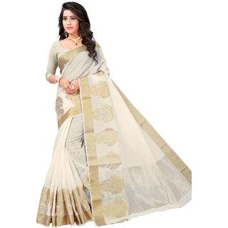 Panaah Off White Cotton Silk Jacquard Weaving Saree With Blouse