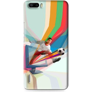 Snooky Printed Kick FootBall Mobile Back Cover For Huawei Honor 6 Plus - Multi