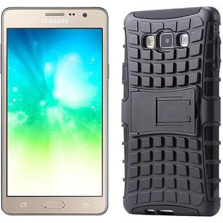 Dream2Cool Hybrid Military Grade Armor Kick Stand Back Cover Case for Samsung Galaxy J7 Prime / On 7 (2016) / On Nxt  (Black)