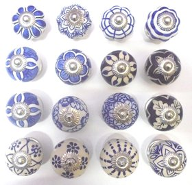 (Set of 16) Assorted Blue Handpainted Ceramic Blue Pottery Door Drawers Knobs