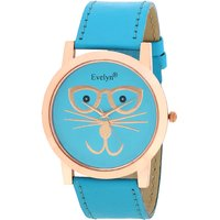 Evelyn Wrist Watch Stylish Broad Cat Face Sky Blue Stra