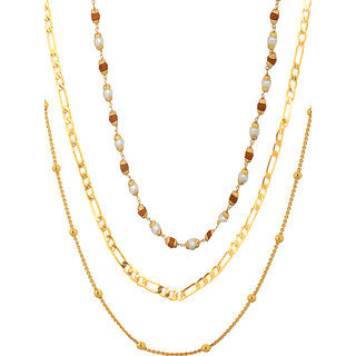 24inch 3 Gold Plated Chain Combo for women by Sparkling Jewellery