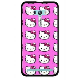 Snooky Printed Pink Kitty Mobile Back Cover For Asus Zenfone Selfie - Multi