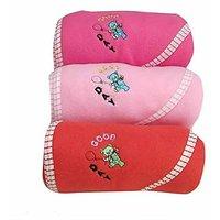 Angel homes Teddy Hooded Baby Blanket Assorted Colors - Set Of 3