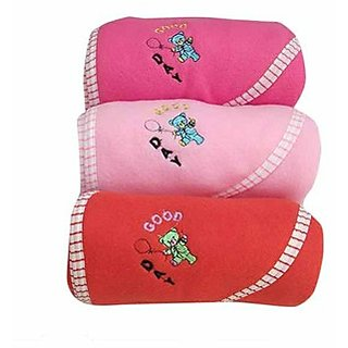 Angel homes Teddy Hooded Baby Blanket Assorted Colors - Set Of 3