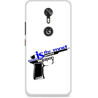 Snooky Printed Be Educated Mobile Back Cover For Gionee A1 - Multi