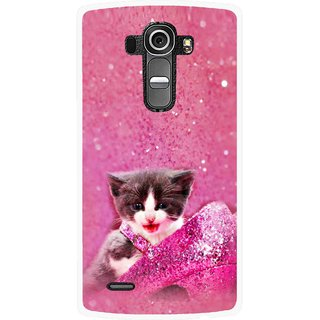 Snooky Printed Pink Cat Mobile Back Cover For Lg G4 - Multi