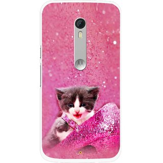 Snooky Printed Pink Cat Mobile Back Cover For Motorola Moto X Style - Multi