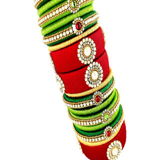 82fd47ec5e00d Parrot Green and Chilly Red Silk Thread Bangle set