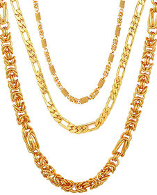 20inc Gold Plated High Quality Chains Combo for Men by Sparkling Jewellery