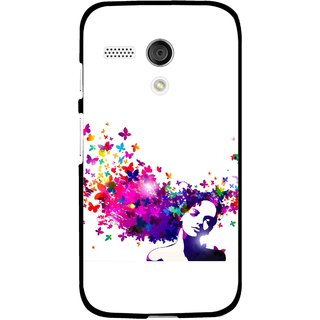 Snooky Printed Flowery Girl Mobile Back Cover For Moto G - Multi