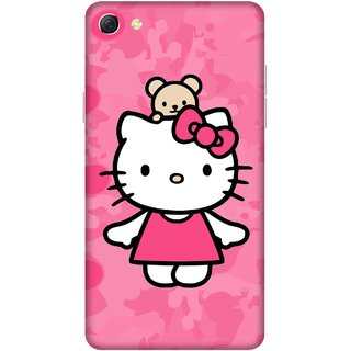 Print Opera Hard Plastic Designer Printed Phone Cover for oppo f3plus-oppo r9splus Cute Cat with pink background