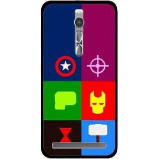 Snooky Printed Multi Heros Mobile Back Cover For Asus Zenfone 2 - Multi